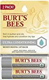 Burt's Bees Lip Balm Stocking Stuffer, Moisturizing Lip Care Holiday Gift, 100% Natural, Ulta Conditioning with Shea, Cocoa & Kokum Butter (2 Pack)