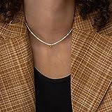 SONGK Gargantilla de Perlas de imitación Blancas Grandes y Elegantes, Collar de Cadena de...