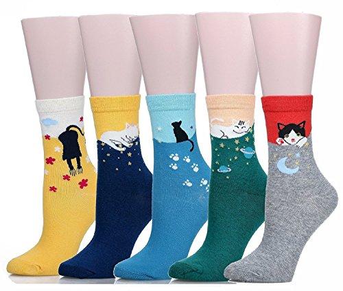 SoxEra - calzini da donna, design con gattino, casual, comodi calzini in cotone - pacco da 5. multicolore Cat