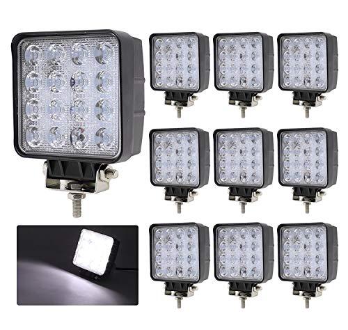 TMH (Pack of 10 48w Square Shape 30 Degree LED Work Light Spot Lamp Driving Light, Off-Road, 4wd, 4x4, Utv, Sand Rail, ATV, SUV, Motorbike, Motorcycle, Bike, Dirt Bike, Bus, Trailer, Truck, Boat