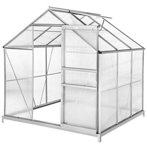 TecTake 800416 Serre de Jardin et Polycarbonate Alu Tente Abri Plante Jardinage 190x185x195 cm - diverses modèles - (190x185x195 avec Base   no. 402472)