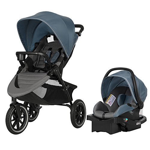 Evenflo Folio3 Stroll & Jog Travel System w/LiteMax 35 Infant Car Seat, Crossover Versatility, Ultra-Compact, Self-Standing Folding Design, 12 Air-Filled Tires, Front Wheel Swivel Lock, Skyline Blue