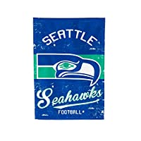 SUPPORT YOUR TEAM IN STYLE: Show your pride loud and proud with this gorgeous vintage double sided garden flag. Seattle Seahawks fans will enjoy a navy and green flag with the vintage Seahawks logo printed in the center. The heat transferred football...