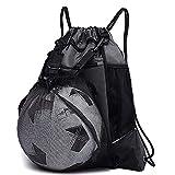 KAEGREEL Drawstring Soccer Bag for Boys, Foldable Basketball Backpack Gym Bag Sackpack Sports Sack with Detachable Ball Mesh Bag for Volleyball Baseball Yoga, Grey