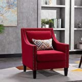 Goujxcy Arm Accent Chair for Living Room, Modern Upholstered Linen Fabric Barrel Chair Club Chair Comfy Single Sofa Office Guest Chair for Living Room Guestroom Bedroom (Red)