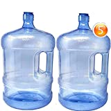 2-Pc Plastic Water Bottle With Screw Caps 5 Gallons Jug Container With Cap, Easy Grip Carry Handle | For Sports Camping Residential Commercial Use | BPA Free Food Grade
