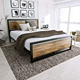 Amooly Queen Metal Bed Frame with Wood Headboard Platform Bed Frame/Strong Slat Support/Easy Assembly/Box Spring Optional
