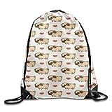 Etryrt Mochila de Cuerda,Bolsas de Gimnasia, Pug Pattern Basic 100% Polyester Drawstring Backpack Adjustable Secure String Bags 16x14 Inch For Adult