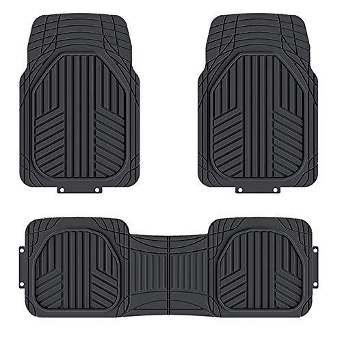 AmazonBasics 3-Piece All-Season Odorless Heavy Duty Rubber Floor Mat for Cars, SUVs and Trucks, Black