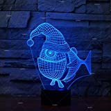 Solo 1 pieza Christmas Fish 3d Led Nightlight Novedad Productos creativos Export Led Night LightUsb Led 3d Light Accesorios