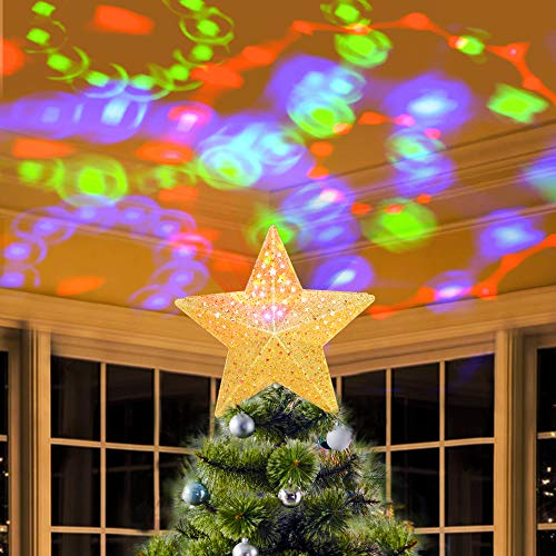 KPCB Tech Estrella de Navidad Proyector de Ondulación Giratoria con Superficie de Brillo Dorado