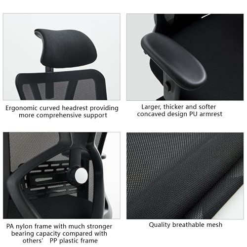 Product Image 5: Ticova Ergonomic Office Chair - High Back Desk Chair with Adjustable Lumbar Support & Thick Seat Cushion - 130°Reclining & Rocking Mesh Computer Chair with Adjustable Headrest, Armrest