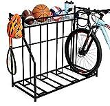 BirdRock Home 4 Bike Stand Rack with Storage – Metal Floor Bicycle Nook – Great for Parking Road, Mountain, Hybrid or Kids Bikes – Garage Organizer - Helmet - Sports Storage Station - Black