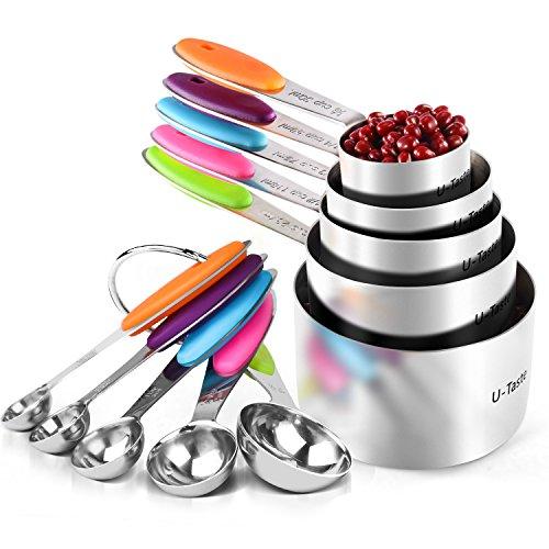 U-Taste 10 Piece Measuring Cups and Spoons Set in 18/8 Stainless Steel