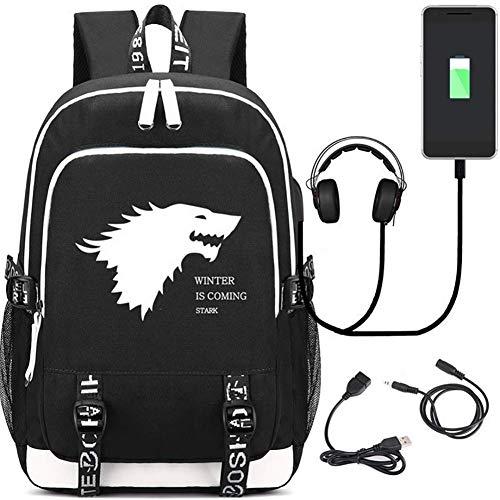 HGYIO Mochila para portátil de 32 L, para Viajes al Aire Libre, con Puerto de Carga USB/Auriculares, impresión de Juego de Tronos, Bolsa de computadora para portátiles de 15,6 Pulgadas, Negro