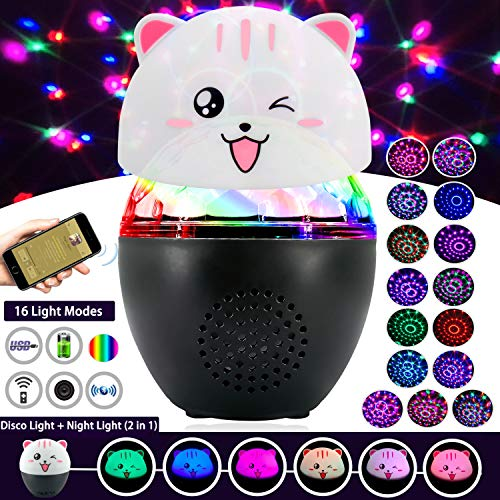 3 in 1 Bluetooth Night Light Disco Ball,Inpher Rechargeable 16 Light Modes Sound Activated Party Light Wireless Speaker Night Lamp with Remote Control Cute Shell for Parties,Wedding and Kids' Room