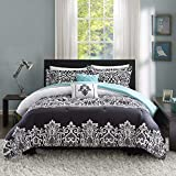 Intelligent Design Leona Comforter Set, Twin/Twin XL, Black/Aqua
