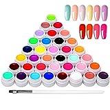 Anself 36 Colores Esmaltes Semipermanentes de Uñas, Esmaltes Semipermanentes, Gel Uñas Juego de Pigmentos para Uñas, Poli Gel UV Esmalte...