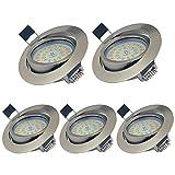 YYZB Lot de 5 Spots LED Encastrables Orientables Dimmables, 5W Ultraslim Blanc Chaud 3000K 550LM...