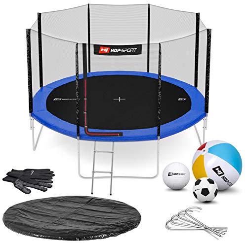Hop-Sport Gartentrampolin Outdoor Trampolin 244, 305, 366, 430, 490 cm Komplettset inkl. Außennetz Leiter Wetterplane Bodenhaken 366cm