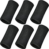 WILLBOND 6 Inch Wrist Sweatband Sport Wristbands Elastic Athletic Cotton Wrist Bands for Sports (6 Pieces, Black)
