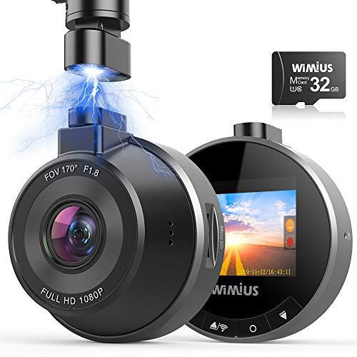 DashCam WiFi Autokamera, WIMIUS 1080p Auto armaturenbrett Cam Mini, KFZ Dash Kamera, 170° Weitwinkelobjektiv, Loop-Aufzeichnung, G-Senor, WDR-Nachtsicht, Parkmonitor, 32G SD-Karte enthalten
