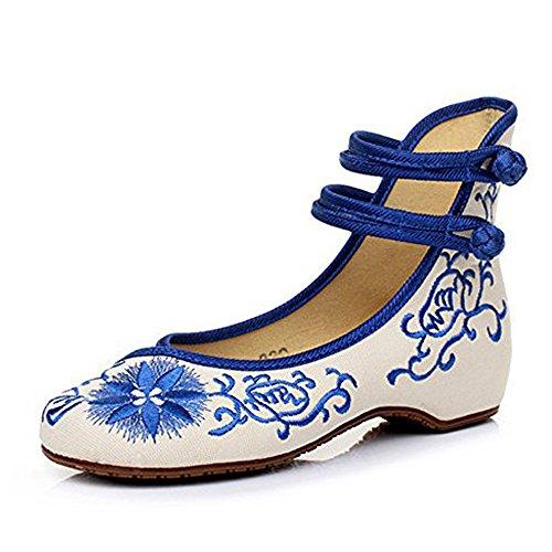 Girasol Nuevas Mujeres Bordado Zapatos Alpargatas Lienzo Pisos de Moda Transpirable y cómodos Zapatos de Baile a pie (Azul,36 EU)