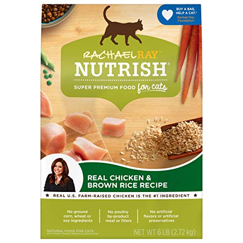 Rachael Ray Nutrish Premium Natural Dry Cat Food, Real Chicken & Brown Rice Recipe, 6 Pounds (Packaging May Vary)