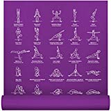 "NewMe Fitness Instructional Yoga Mat, Purple - Printed w/ 70 Illustrated Poses, 24"" Wide x 68"" Long, for Women & Men : Non Slip, Eco Friendly PVC, Non Toxic : for Home or Gym : 5mm Thick"