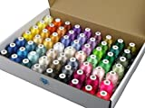 Simthread 63 Brother Colors Polyester Embroidery Machine Thread Kit 40 Weight for Brother Babylock Janome Singer Pfaff Husqvarna Bernina Embroidery and Sewing Machines 550Y