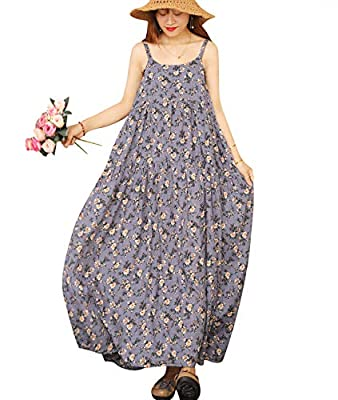 Tiered Maxi Dress; Sexy Home Wear; Cotton Sleep Wear; Bohemian Floral Dress; Summer Beach Dress; Adjustable Spaghetti Slip; Empire Waist Bohemian Floral Printed; Soft Skin Fabric; Perfect for any season- with tops inside or with cardigans outside; NO...