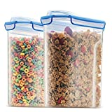 Extra Large Cereal Containers Storage Set [2pk,168oz-21cup] Airtight Silicone Sealed Locking Lids Maintains Freshness -Space Saving Cereal Container -Food Storage Containers For Flour, Sugar, Rice Etc