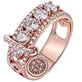 Women Bridal Fashion Crystal Rhinestone Hollow Out Ring Wedding Engagement Anniversary Bands Jewelry Gift (Rose Gold, 8)