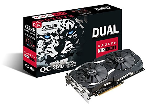 ASUS DUAL Radeon RX 580 Overclock Edition 8 GB GDDR5, Tecnologia Auto-Extreme, VR Friendly, Tecnologia MaxContact e Backplate