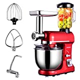 Frifer 3 in 1 Electric Stand Mixer, 6 Speed Kitchen Food Standing Mixer, 500W Tilt Head Kitchen Mixer with 5QT Stainless Steel Bowl, Hook, Whisk, Beater, Meat Grinder, Noodles Mixer, Juice Blender (Stand Mixer, Red)