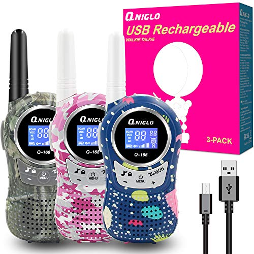 Rechargeable Kids Walkie Talkies 3 Pack, 22 Channel FRS Walkie Talkies for Kids Best Walkie Talkies Toys for Boys and Girls Outdoor Camping, Hiking, Cruising