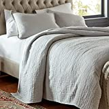 Stone & Beam Locklar 100% Cotton Lightweight Textured Full / Queen Coverlet Set, Easy Care, 90 x 90, Grey