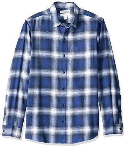 Amazon Essentials Men's Slim-Fit Long-Sleeve Plaid Flannel Shirt, Blue Ombre, X-Large