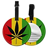 Men Luggage Tags Cool Green Cannabis Leaf Icon Carry On Luggage Tag Travel ID Tag Cute with Adjustable Black Strap For Bags & Baggage with Privacy Protection For Women Men