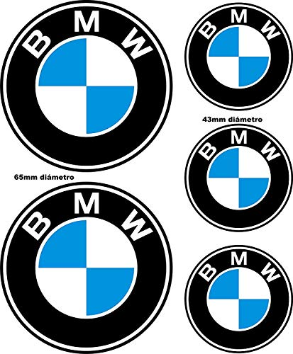 Adhesivos Reflectantes compatibles con BMW / 5 Unidades - Medidas reflejadas en la Imagen/Pegatina Reflectante Logo BMW para Moto, Coche, Casco, Bici