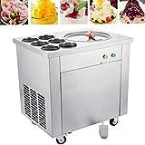 Happybuy Single Pan Commercial Ice Roll Maker 740W Fried Yogurt Cream Machine Perfect for Bars/Cafes/Dessert Shops, 13.7' Diameter