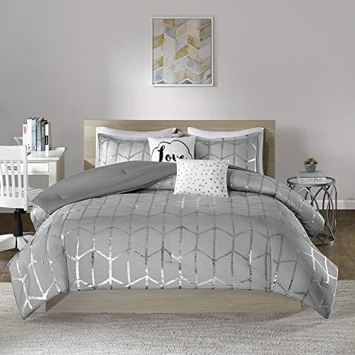 Intelligent Design Raina Comforter Set Full/Queen Size - Grey Silver, Geometric – 5 Piece Bed Sets – Ultra Soft Microfiber Teen Bedding for Girls Bedroom