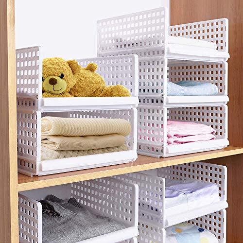 Set di 4 organizer impilabili per guardaroba, in plastica bianca, organizer per armadio, cestello...