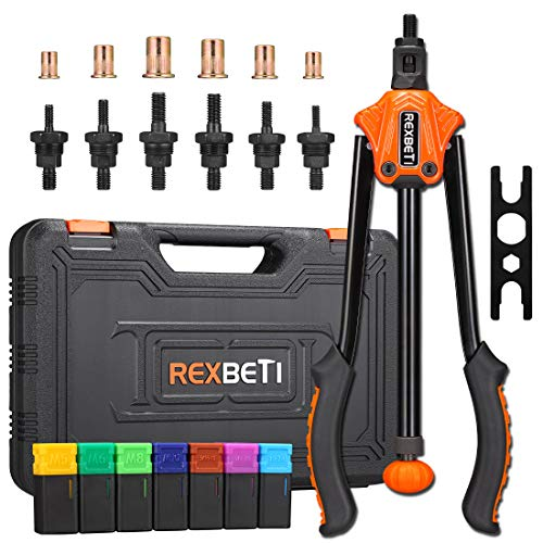 REXBETI 14' Auto Pumping Rod Rivet Nut Tool, Professional Rivet Setter Kit with 7 Metric & SAE Mandrels and 70pcs Rivnuts, Upgraded Labor-Saving Design, Rugged Carrying Case