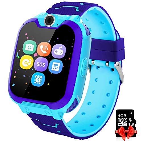 PTHTECHUS Orologio Intelligente Bambini con 7 Giochi - Musica MP3 Smartwatch Studente, Orologio Intelligente Bambini con Telefono Allarme Camera, Bambini Smartwatch Regali(Blu X6)