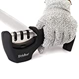 4-in-1 Kitchen Knife Accessories: 3-Stage Knife Sharpener Helps Repair, Restore, Polish Blades and Cut-Resistant Glove (Black)