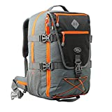 Cabin Max Equator 2.0 Flight Approved Backpack with Rain cover, perfect hiking backpack and travel backpack - 22x14x9 compatible with American Airlines (Grey/Orange)