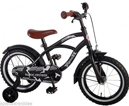 14 Inch bike   Kwaliteitskinderfiets met zijwieltjes   Black Cruiser   Zwart/mat   41401