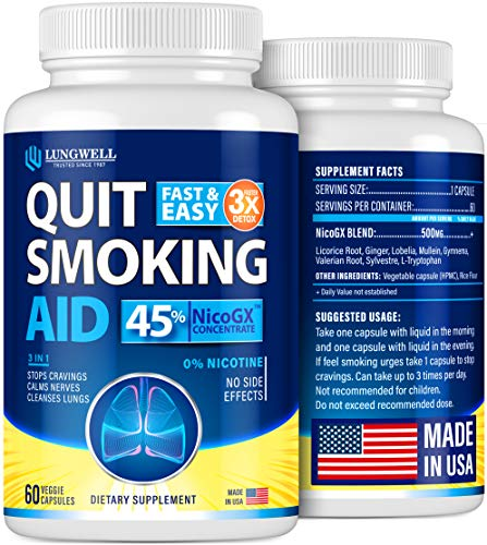 Quit Smoking Aid - Lung Cleanse & Detox Pills - Made in USA - Helps to Clear Lungs & Stop Smoking - Infused with Mullein & L-Tryptophan for Lung Detox & Stress Relief - COPD & Asthma Relief 1 - My Weight Loss Today
