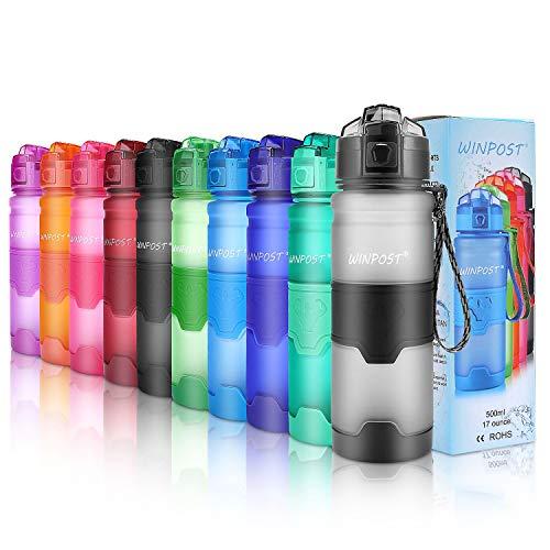 WINPOST Bottiglia per Acqua Sportiva, 500ml & 700ml & 1000ml-BPA Bottiglia di plastica Tritan Ecologica con Filtro, Flip Top, Aperta con 1-clic, Riutilizzabile con Coperchio a Prova di perdite